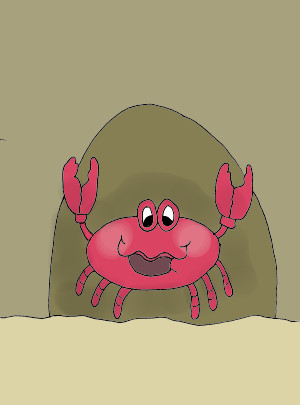 Image of the crab and the sandcastle story